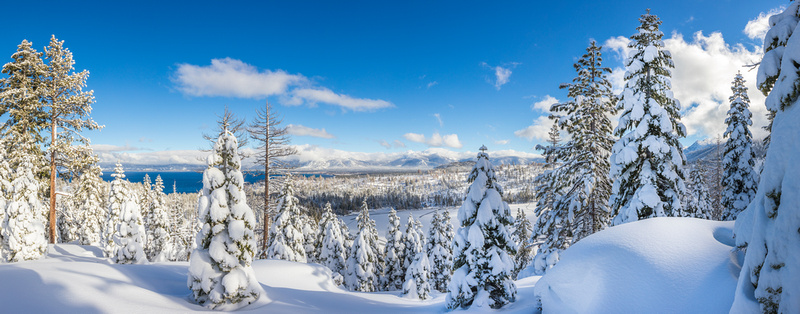 Snowy Panorama with Cascade Lake and Lake Tahoe