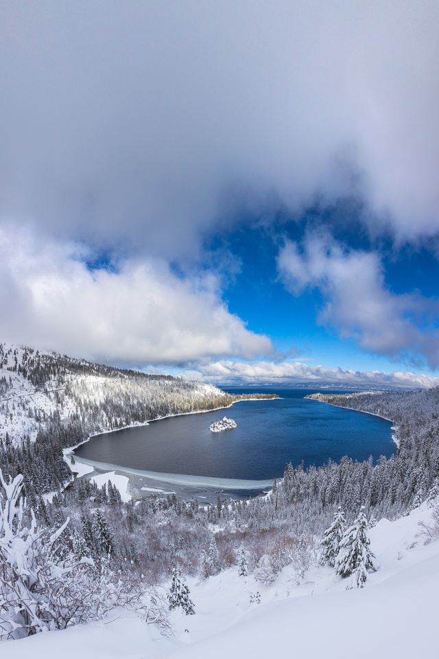 Emerald Bay Winter Vertical Panorama